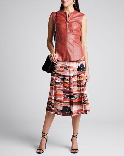 Abstract-Print Pleated Midi Skirt