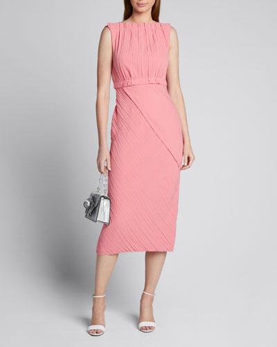 Crinkled Satin-Back Crepe Asymmetric Dress