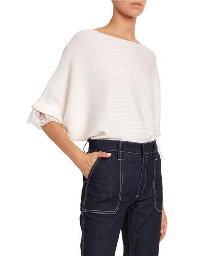 Lace-Cuff Wool-Silk Sweater