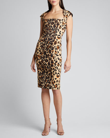Leopard Print Square-Neck Bodycon Dress