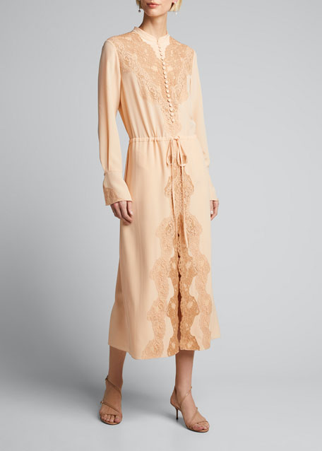 Damask Lace Crepe Shirtdress