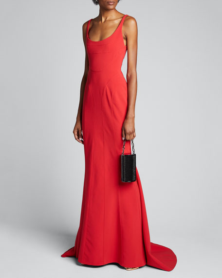 Scoop-Neck Crepe Draped Gown