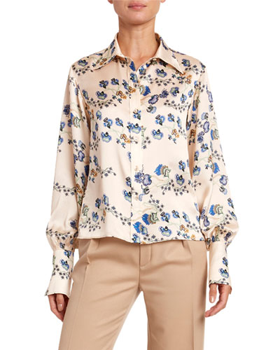 Flower-Print Hammered Satin Shirt