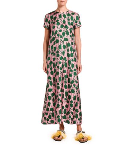 Floral Print Silk Swing Dress