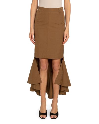 Cotton High-Low Mermaid Flared Midi Skirt