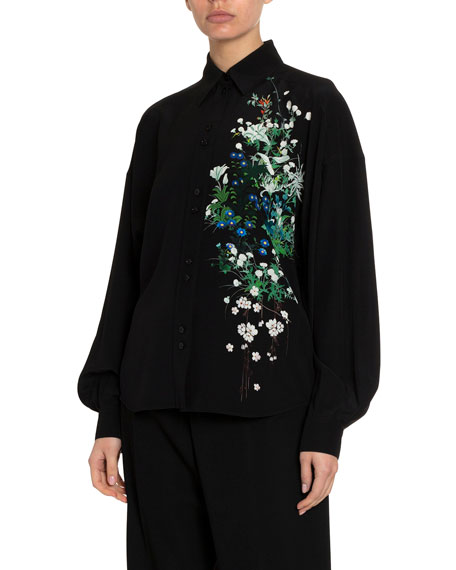 Image 1 of 1: Floral One-Sided Classic Blouse
