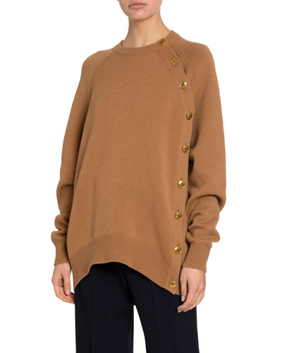 Cashmere-Wool Button-Side Sweater
