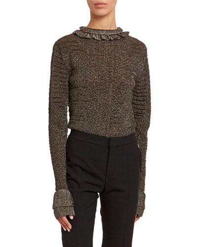 Metallic-Knit Ruffled High-Neck Sweater