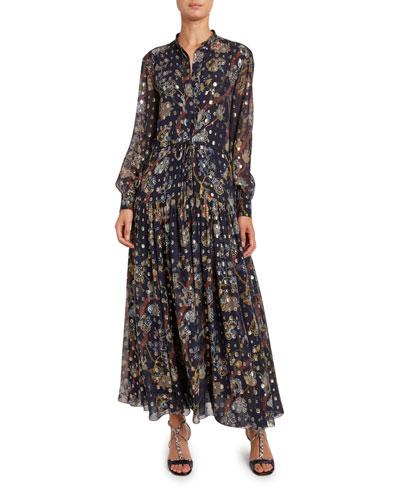 Silk Jacquard Mock-Neck Dress