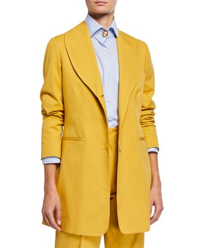 Cotton Shawl-Collar Blazer