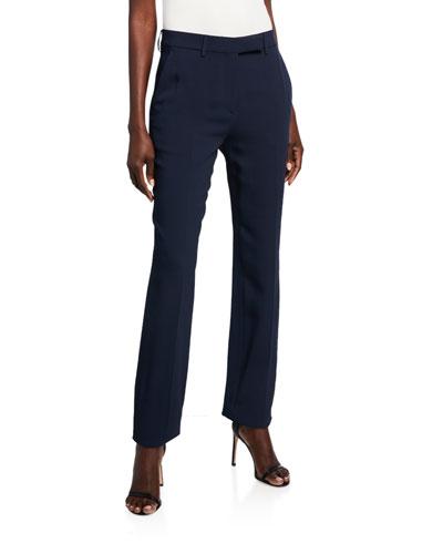 Solid Straight-Leg Pants