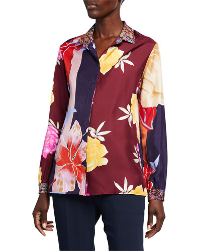 Lily Patchwork Floral Silk Button-Front Blouse