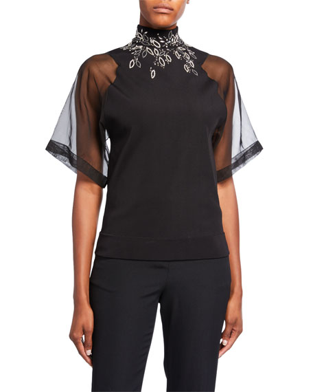 Embroidered High-Neck Organza Top