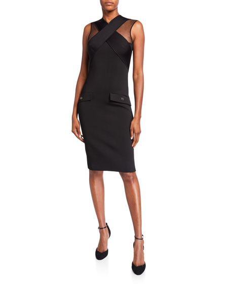 Image 1 of 1: Crisscross-Front Tulle-Shoulder Bodycon Dress