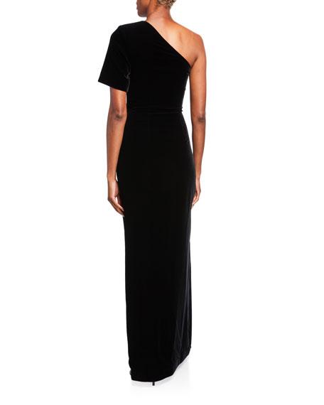 Velvet One-Shoulder Fitted Gown