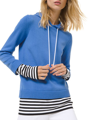 Cashmere Layered Pullover Hoodie w/ Striped Layer