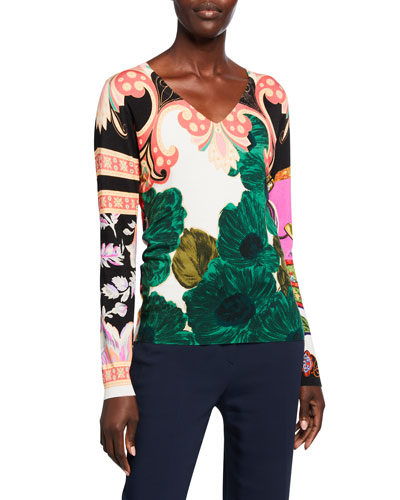 Floral Patchwork Brushed Silk-Knit Sweater