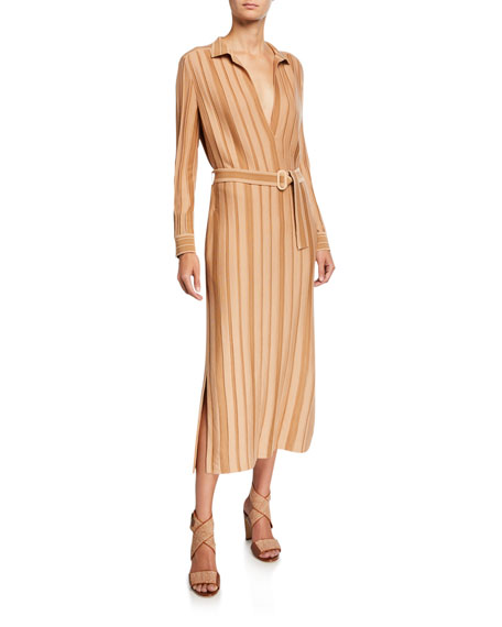 Striped Cashmere-Silk Knit Belted Shirtdress