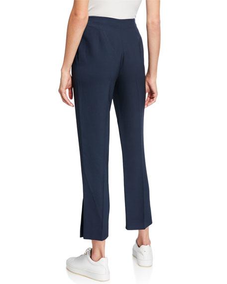 Flowing Silk-Wool Cropped Slit-Hem Pants