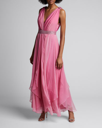 Beaded Iridescent Chiffon V-Neck Gown