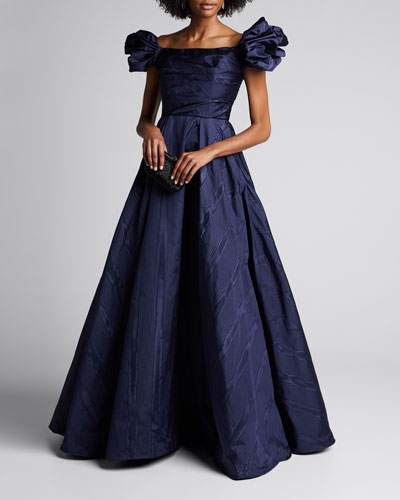 Off-the-Shoulder Puff-Sleeve Gown