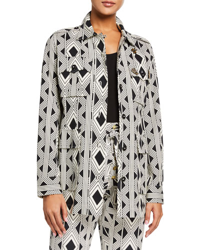 Geometric-Print Safari Jacket