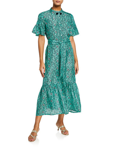 Saskia Floral Silk Flutter-Sleeve Shirtdress
