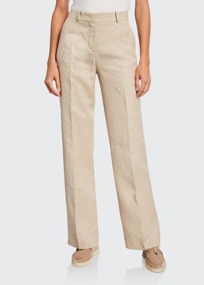 Pleated Denim Linen Bootcut Pants