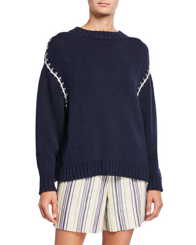 Silk-Cotton Stitched Sweater