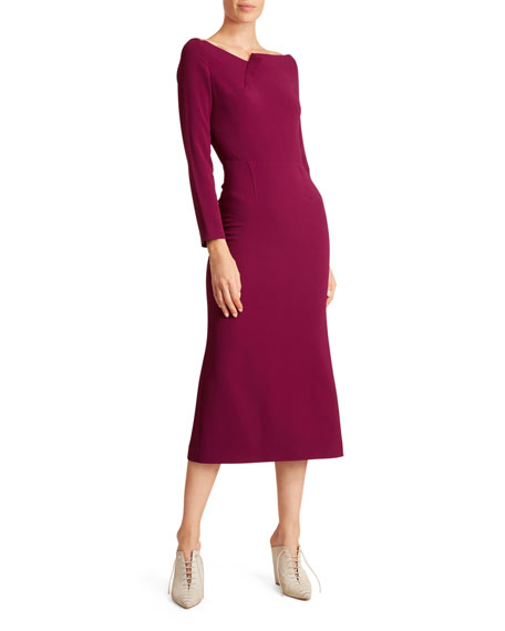 Square Neck Long Sleeve Jersey Dress by Roland Mouret