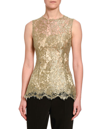 Sleeveless Metallic Chantilly Lace Blouse