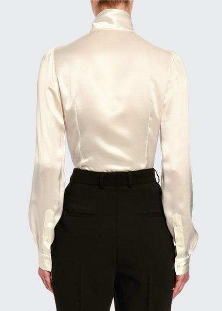 Fluid Silk Tie-Neck Shirt