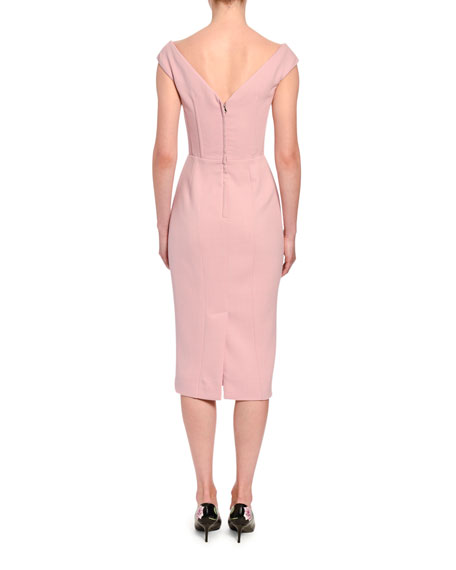 Sleeveless Crepe Pencil Dress