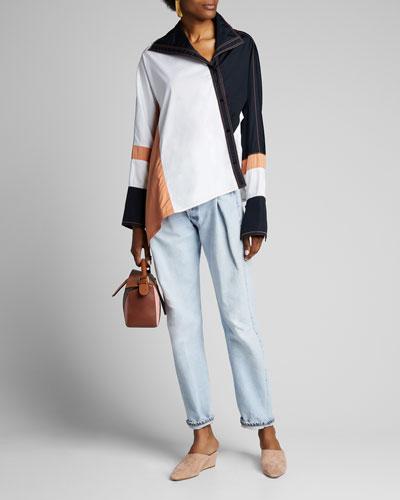 Asymmetric Colorblocked Poplin Shirt