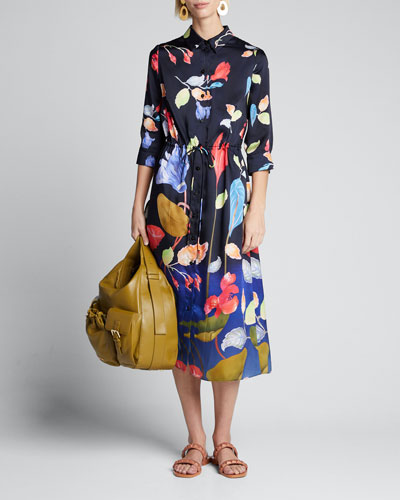 Floral 3/4-Sleeve Shirtdress