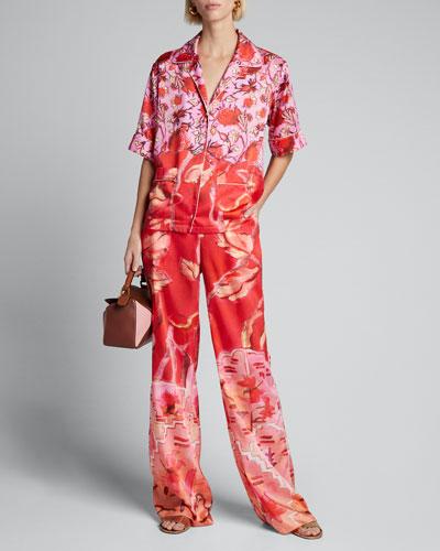Floral Satin Short-Sleeve Pajama Top