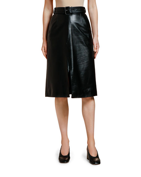 Image 1 of 1: Leather Belted Midi Skirt