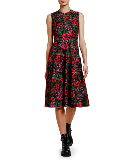 Image 1 of 1: Floral-Print Full-Skirt Dress