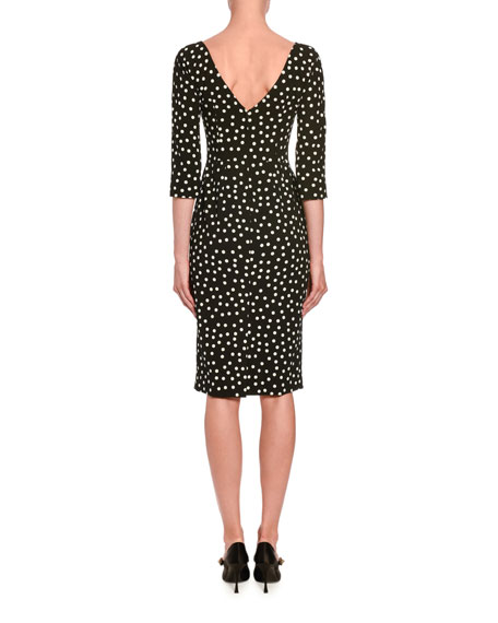 3/4-Sleeve Polka-Dotted Dress