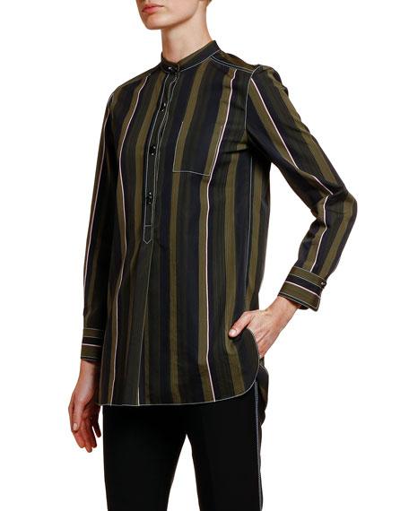 Multi-Striped Cotton Button-Front Blouse