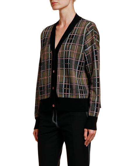 Plaid Button-Front Cardigan
