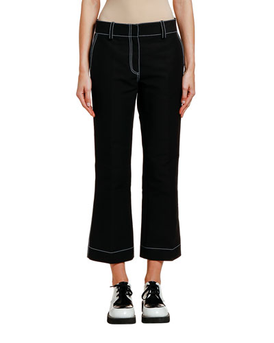 Contrast-Stitched Cotton Trousers
