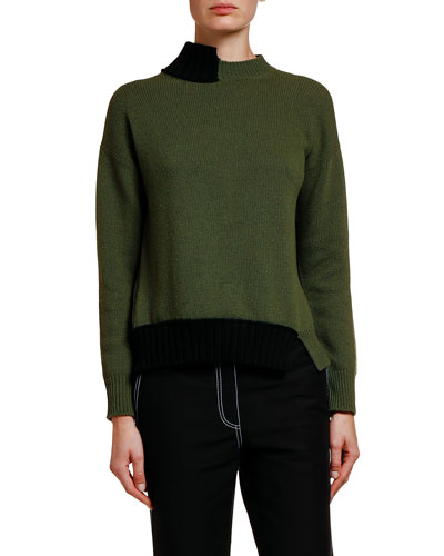Two-Tone Asymmetric Tie-Back Sweater