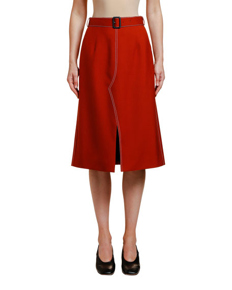 Belted Wool Utility Skirt
