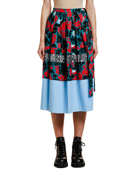 Pleated Mixed-Print Midi Skirt