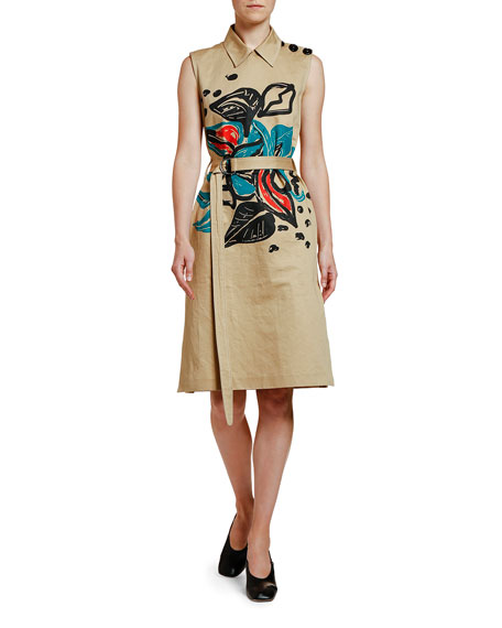 Image 1 of 1: Sleeveless Printed Trench Dress