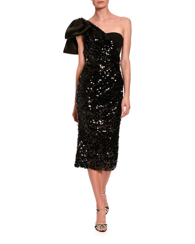 Sequined One-Sleeve Cocktail Dress