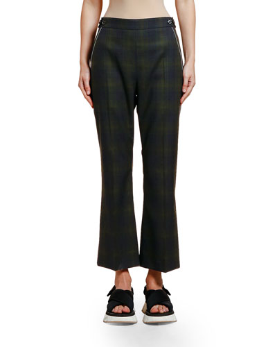 Plaid Wool Crop Trousers