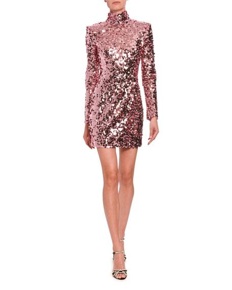 High-Neck Sequined Mini Dress