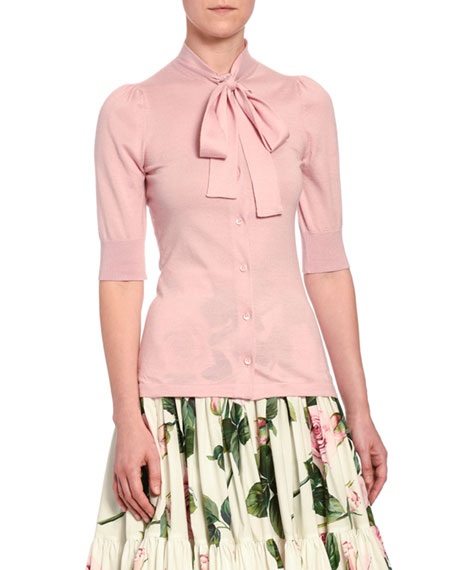 Cashmere Tie-Neck 1/2-Sleeve Cardigan
